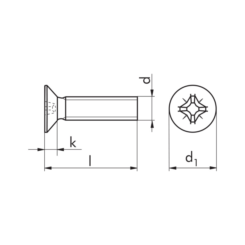 Kierteenmuovaava ruuvi, uppokanta PZ - TAPTITE DIN 7500-M ZN M4X16