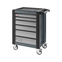 Stahlwille workshop trolley, model 95, 6 full-ext. drawers and crash prot., grey