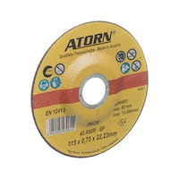 ATORN cutt disc ex thin, 115 x 0.8 mm, type: depressed centre, for stainless stl