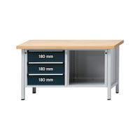 ANKE workbench, model 103 V, panel solid beech. 1500x700x850 mm, RAL 7035/7016