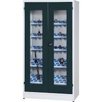 Mod. wing door cabinet housing, doors w view window 1950x1018x620mm 7035/7016