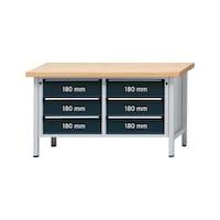 ANKE Werkbank Modell 108 V Platte Buche-Massiv 1500x700x850 mm RAL 7035/7016