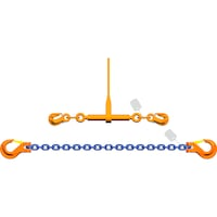 PEWAG lashing chain, quality class 10, diameter 13 mm, length 5000 mm, 2 piece
