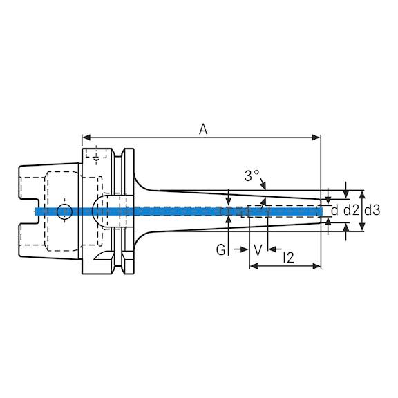 ATORN hassas shrink tutucu HSK-A63 D8 A200 3° uzun, ince DIN 69893-A - Hassas Shrink tutucu, ince, 3 derece