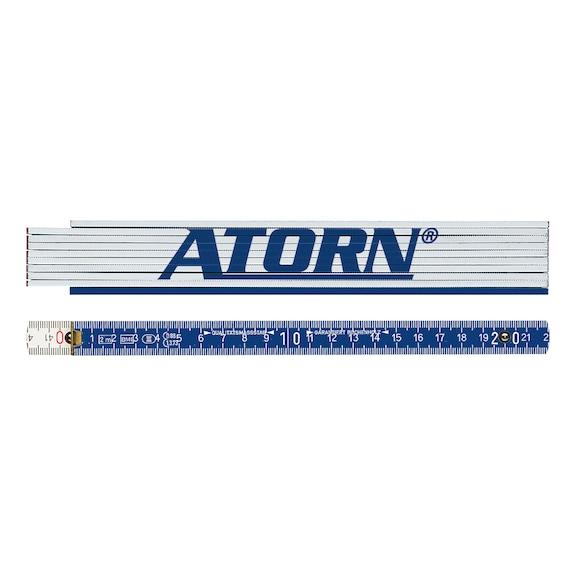 ATORN Holz-Gliedermaßstab weiß 2 m EG-Klasse III, mit skalierter Winkelteilung