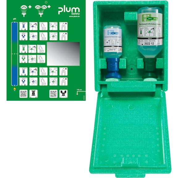 PLUM Augenspülstation, inklusive separater Piktogrammtafel mit Spiegel