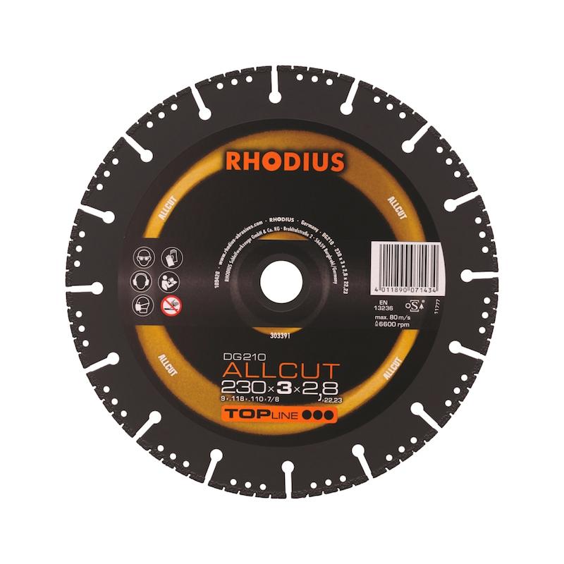 RHODIUS diam. doorslijpschijf ALLCUT DG 210, 230-mm dia. 230 x 3 x 2,5 x 22,2 mm - DG210 Allcut diamantslijpschijf