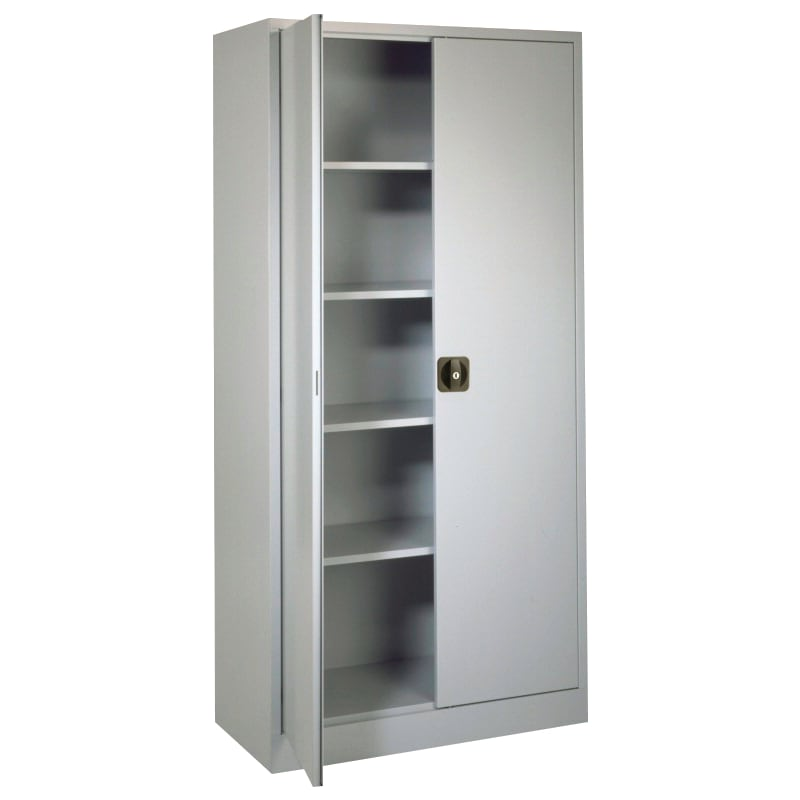 armoire à portes battantes, HxlxP 1950x950x450mm, RAL7035 gris clair - Armoire à portes à rabattement avec portes en tôle pleine, hauteur 1950mm