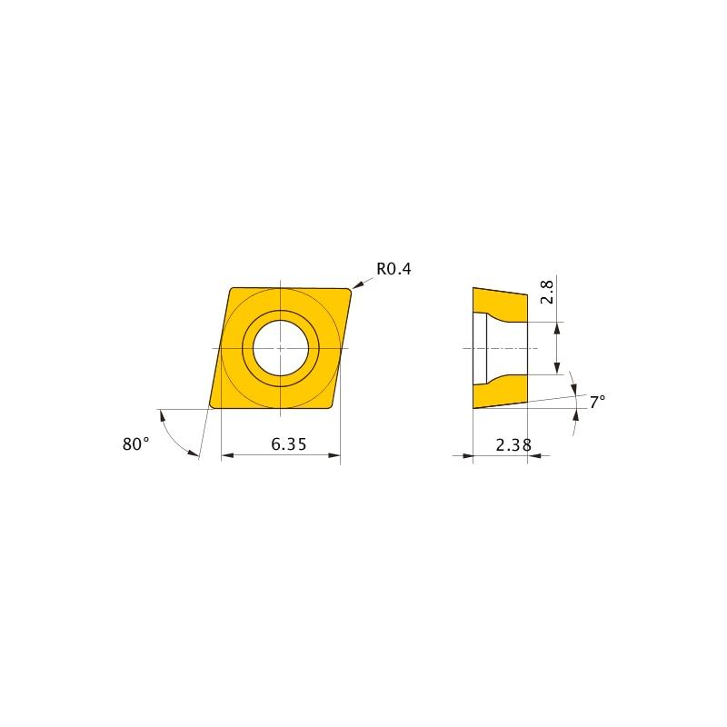 CCET060204L-SN NX2525 MITSUBISHI, WSP, Drehen, CERMET - CCET, Wendeschneidplatte