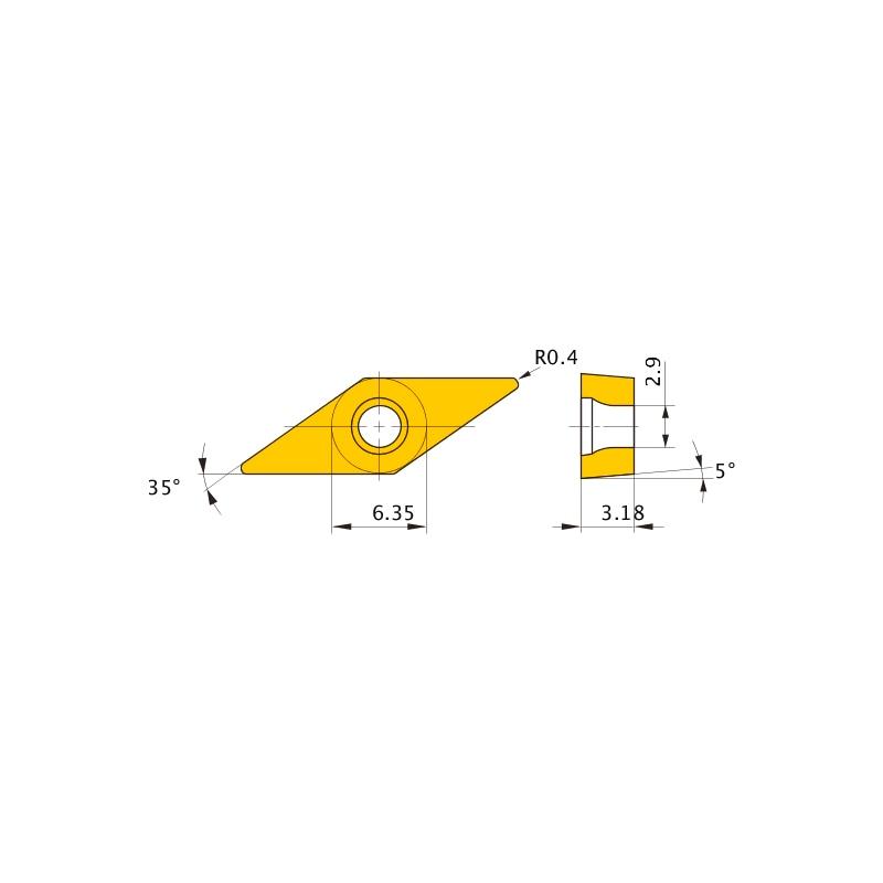 VBMT110304-SV VP15TF MITSUBISHI, WSP, Drehen, beschichtet - VBMT, Wendeschneidplatte