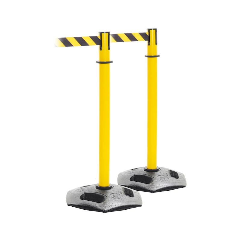 2 bornes rétractables extra-robustes, sangle, noir/jaune, 3650 mm x 50 mm - bornes avec ceinture extensible