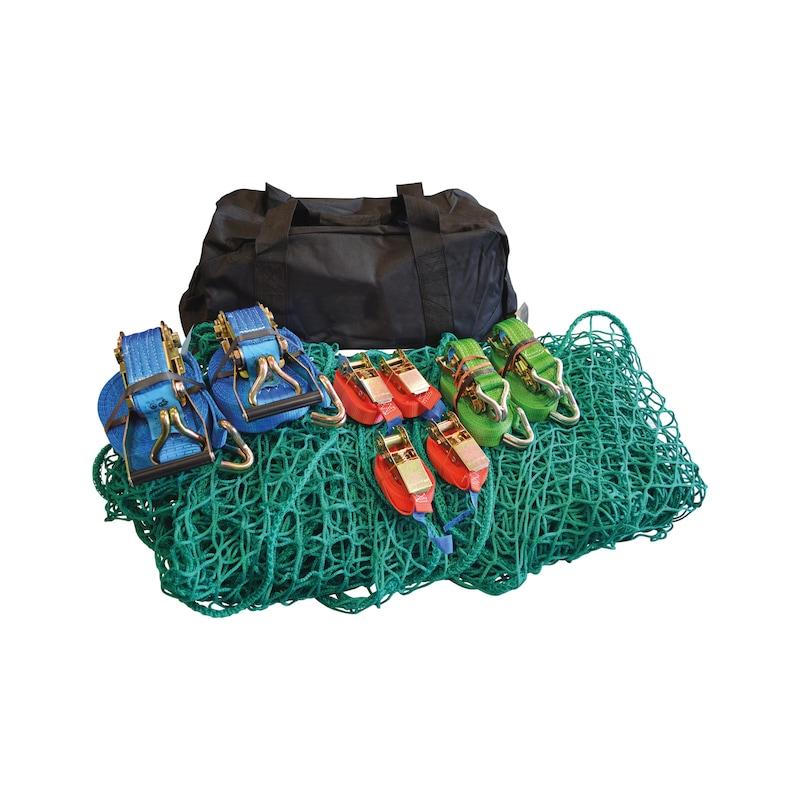 Zurrgurtpaket Sporttasche, 8 Gurte+Netz - Verzurrgurtset bestehend aus 8 Zurrgurten und einem Netz