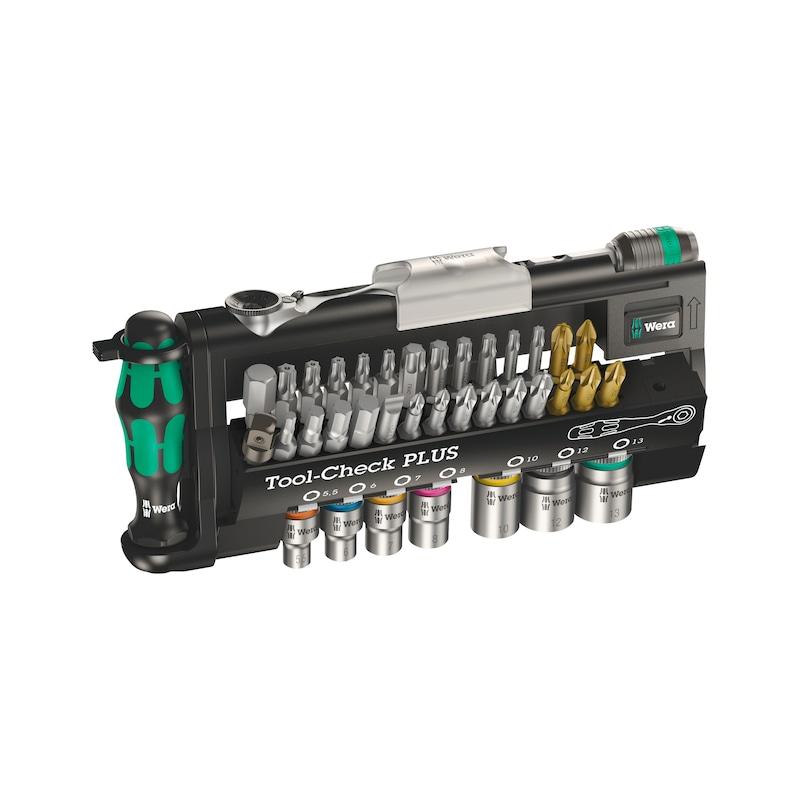 """WERA Tool -Check Satz-38-teilig1/4"""" Bitratsche, Bithalter, Griff,27 Bits,Adapter - Tool-Check Steckschlüssel- und Bitsatz 38-teilig, mit Schraubendrehergriff"""