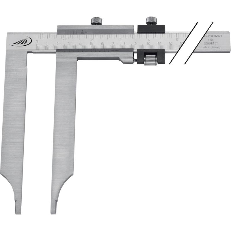 PREISSER INOX sürgülü kumpas 500 mm/250 mm ölçüm kolları - Uzun ölçüm çeneleri ile atölye sürgülü kumpaslar