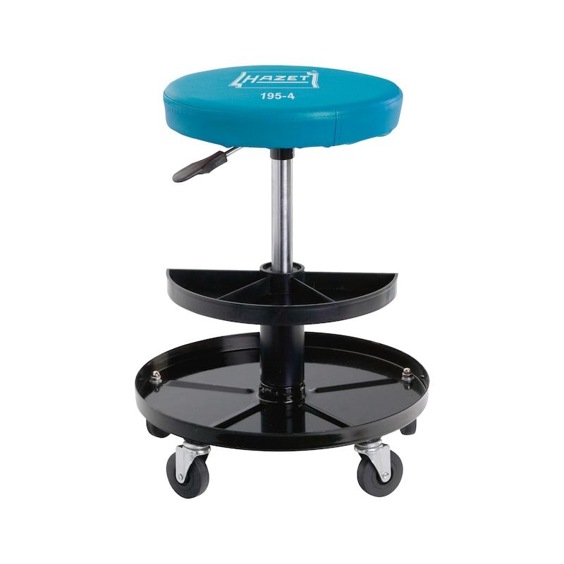Rolling stool, load cap. 150 kg, seat height-adj. 380-510 mm, seat dia. 320mm - Rolling stool