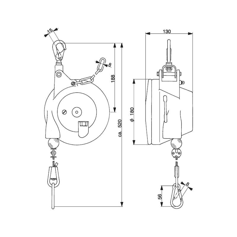 Federzug AUTOSTAT Typ 7231/3 6 - 10 kg mit Arretierung, rostfrei - Balancer Tragfähigkeit 3,0-21,0 kg, mit automatischer Arretierung