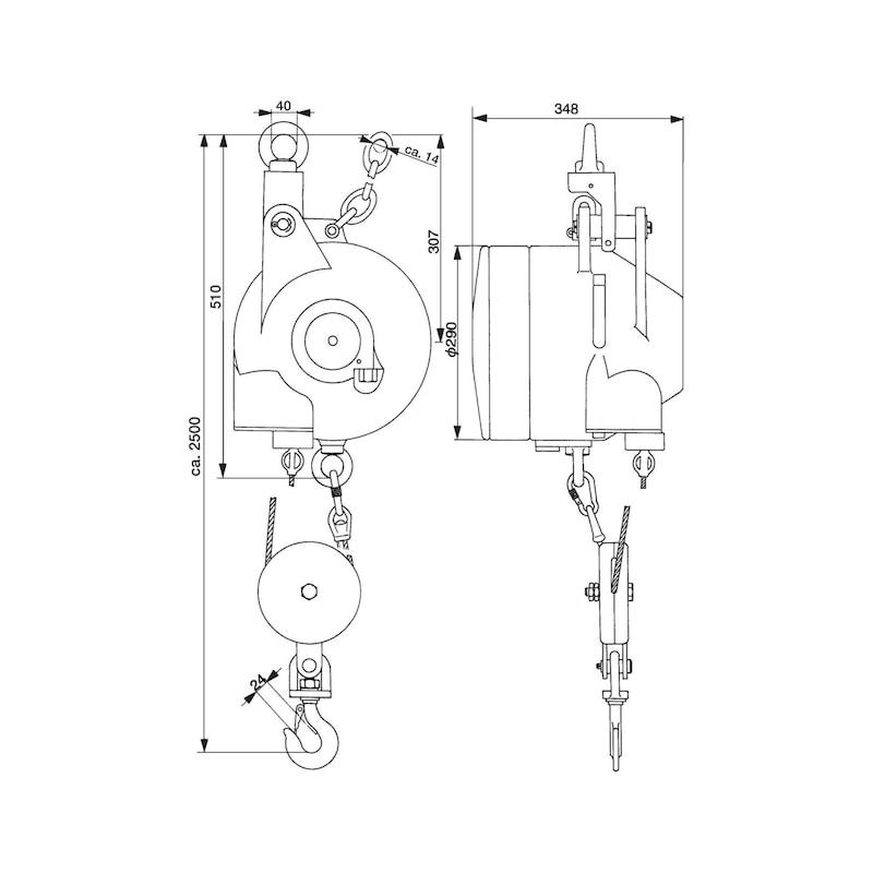 Bal. ressort AUTOSTAT tp 7261/6 275-300 kg av ress proteg. surtorsions brev. - Balancier avec capacité de charge 150,0-300,0kg