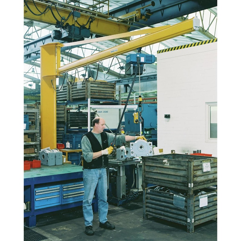 Grue piv. col. DEMAG 250kg x 4m JC-P-300-KBK-BR-M-250-4000 ac DC-Com 2-250 1/1 - Grue pivotante sur colonne avec palan à chaîne électrique