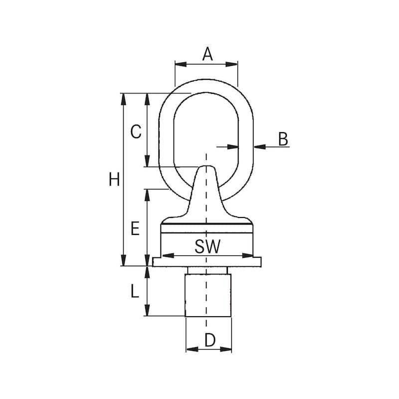 Anschlagwirbel M30x35 schraubbar, mit Gewinde Tragfähigkeit 5300 kg - Wirbelbock Güteklasse 8
