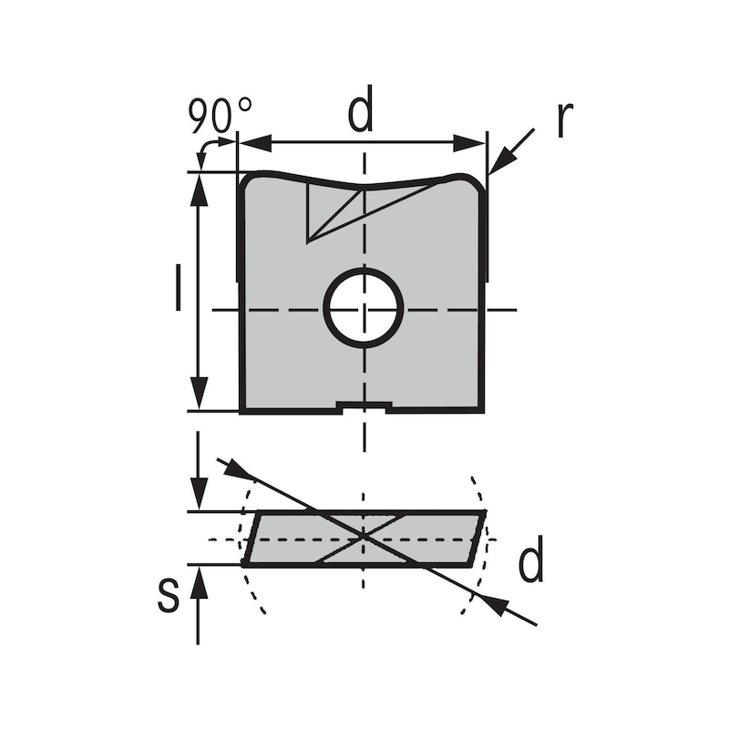 KIENINGER cemented carbide indexable insert WPV 08 mm LW610 - WPV-N indexable milling insert