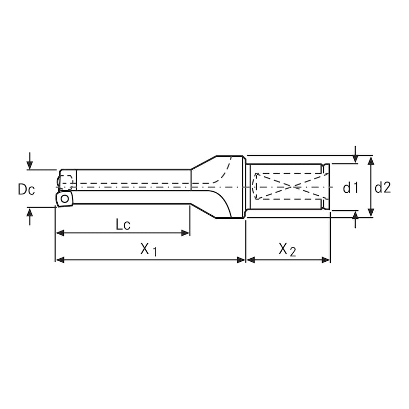 WALTER Star Drill 可转位刀片钻,3xD 34.0 毫米 x 194 毫米,内部 - WALTER D3120 可转位刀片钻 3xD