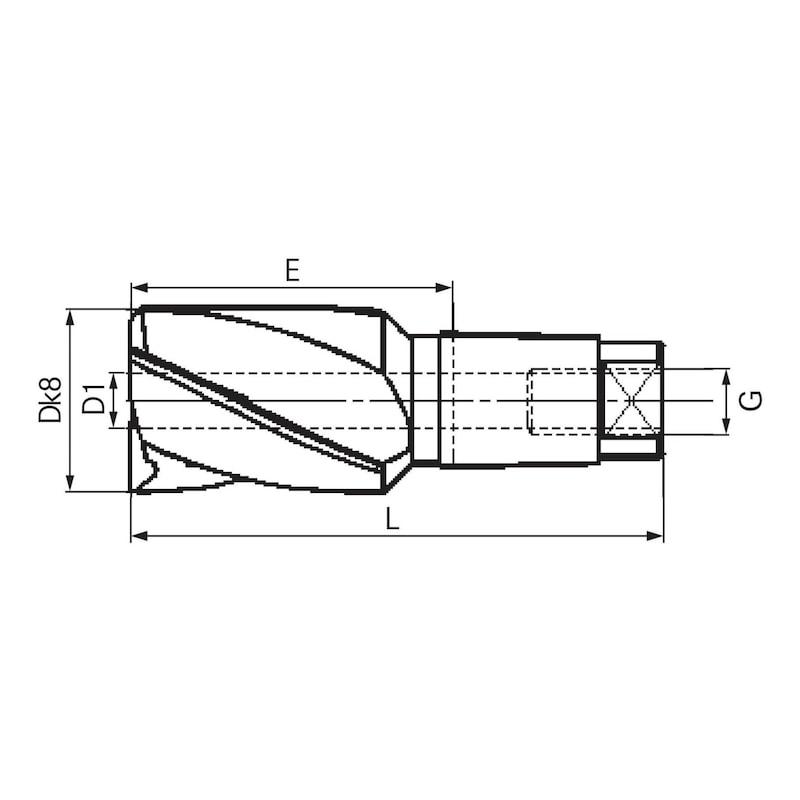 Foret-aléseur BILZ 180 degrés avec pilote amovible HSS T=4 taille 3 19,0 mm - Foret-aléseur, 180°, avec pilote HSS amovible