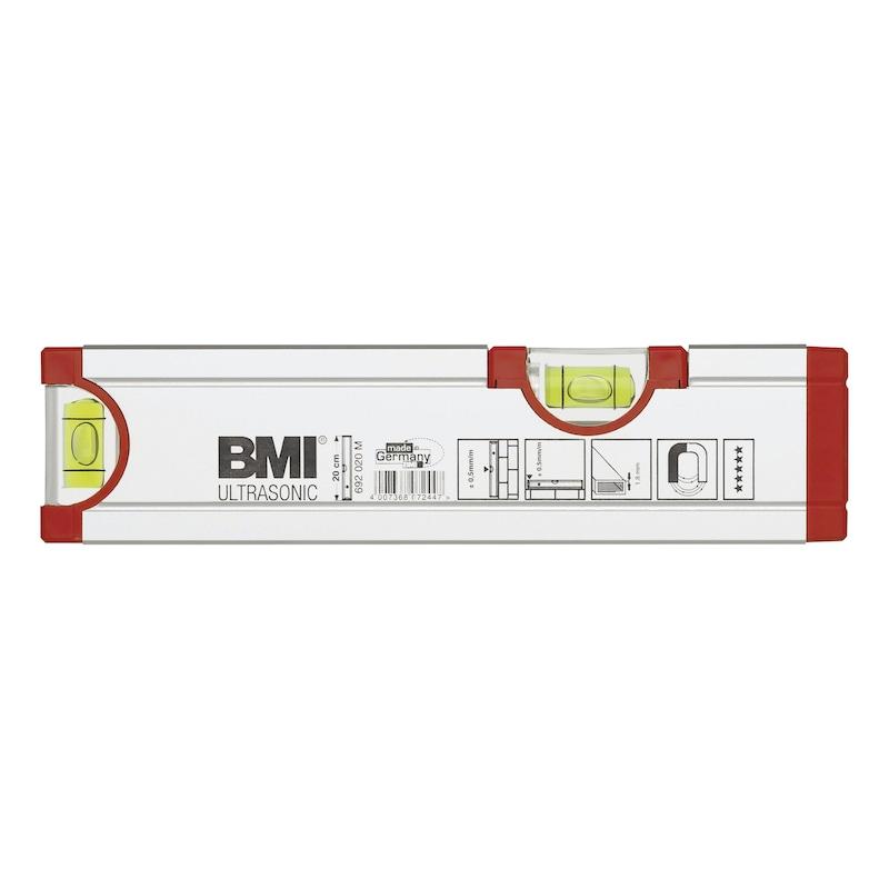 BMI Ultrasonic aluminium waterpas met magneet, 200mm - Lichtmetalen waterpas