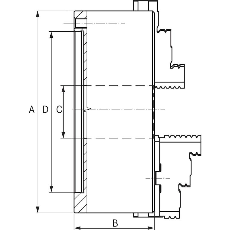 BISON hárompofás esztergatokmány, Ø 200, acél, DIN 6350 3504-200 - Hárompofás esztergatokmány, spirálgyűrűs befogótokmány