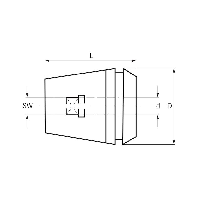 ORION menetfúró bef.patr.,belső négyszöggel,ER 16 4,5 mm 3,4 mm 16,8 mm 16,00 mm - menetfúró-befogópatron, ER típus, DIN 6499 A, belső négyszöggel
