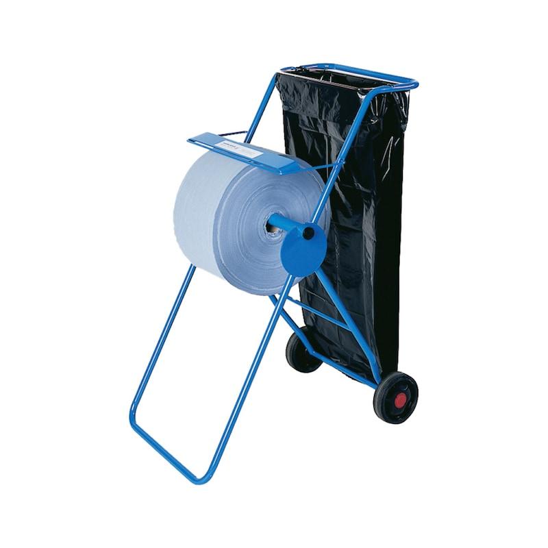 Chariot-dévidoir pour serviettes en papier, métal/bleu - Chariot-dévidoir à fond mobile