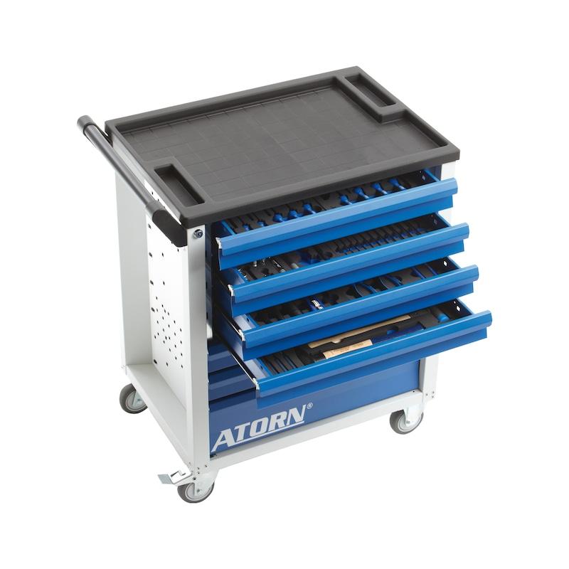 ATORN 手推工具车,RAL 7035/5010,7 个可完全拉出的抽屉,7 个硬泡沫衬垫 - 手推工具车配有 7 个硬泡沫衬垫,内含 151 个工具存放格