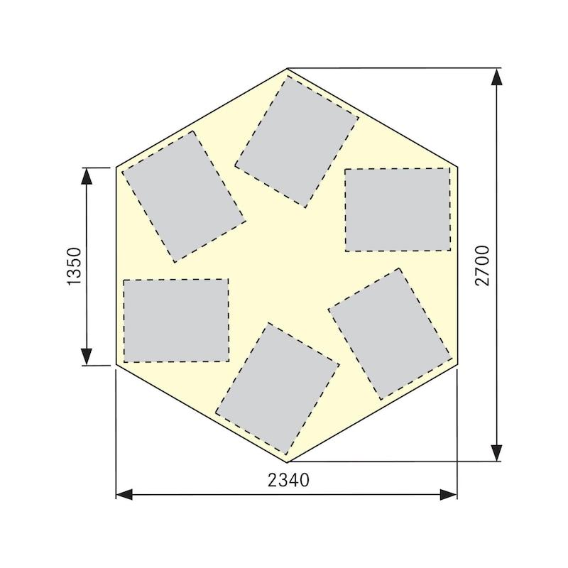 Etabli de groupe ANKE 606 VG, hexag., LxlxH : 2 700x2 340x850 mm, RAL 7035/7016 - Etabli de groupe, série VG, hexagonal avec double verrouillage des armoires