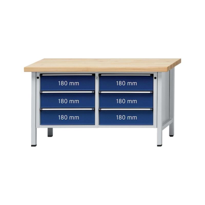 ANKE Werkbank Modell 108 V Platte Buche-Massiv 1500x700x850 mm RAL 7035/7016 - Kasten-Werkbank Serie V 1500