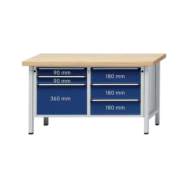 ANKE çalışma tezgahı, 207 V modeli, panel sert kay. 1500 x 700 x 900 mm - Dolaplı çalışma tezgahı, V 1500 serisi