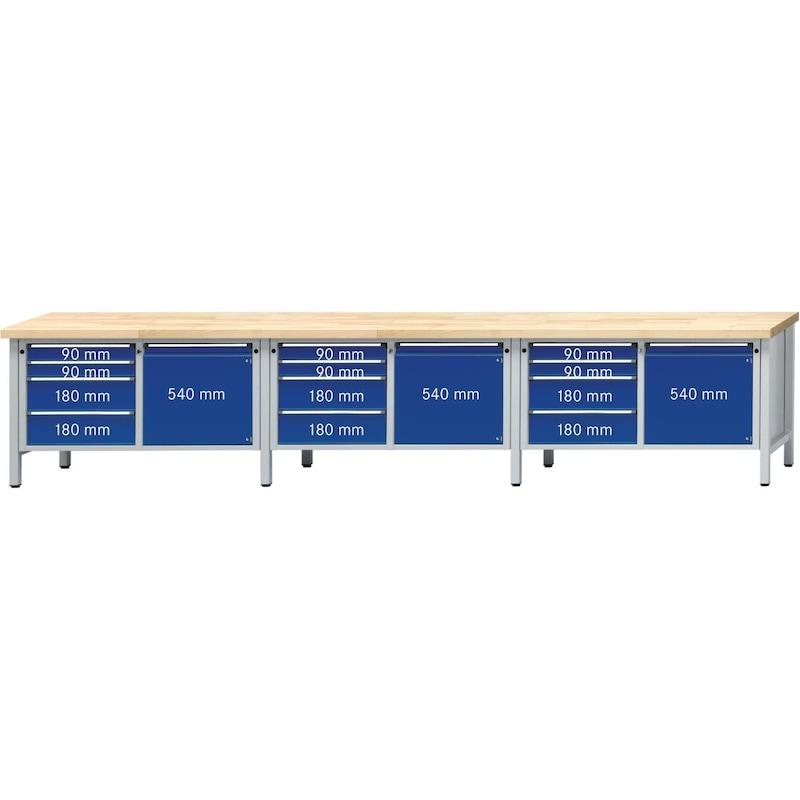 ANKE çlşma tzghı model 131 V 4050x700x900mm, içi dolu kayın pnl, RAL 7035/7016 - Dolaplı çalışma tezgahı, V 4050 serisi