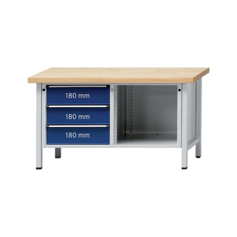 ANKE établi, mod. 103 V, plateau revêt. univ. 1500 x 700 x 900 mm RAL 7035/5010 - Etabli armoire, sérieV 1500