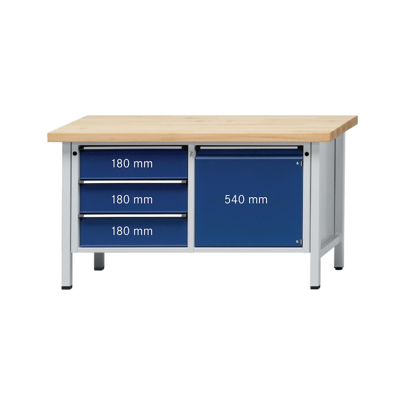 ANKE Werkbank Modell 106 V Platte Buche-Massiv 1500x700x900 mm RAL 7035/5010 - Kasten-Werkbank Serie V 1500