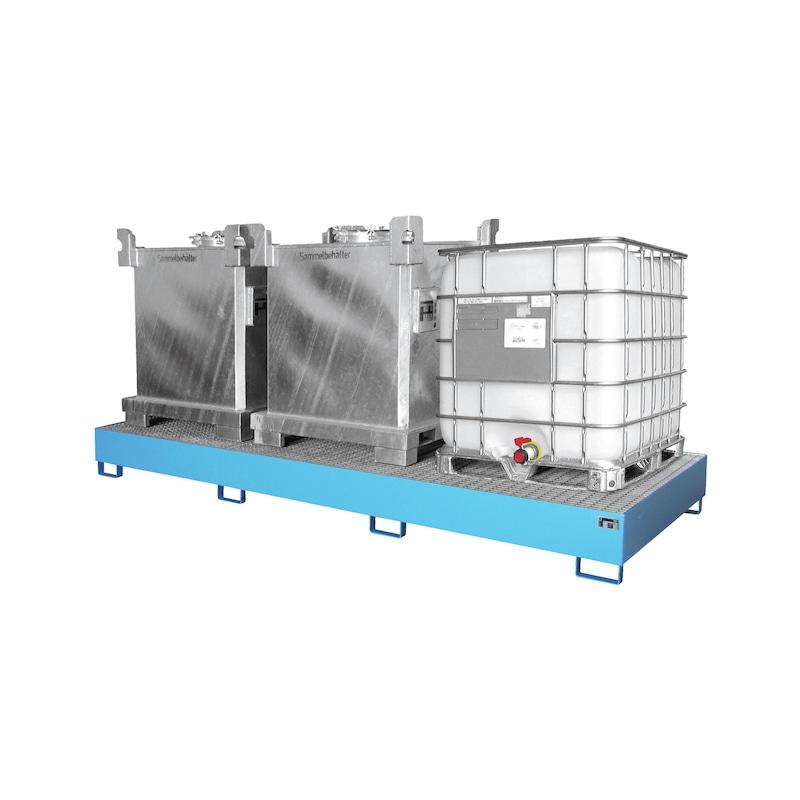 Bac de récupération en acier pour 3 x IBC LxlxH 3850x1300x340 mm - Bac de récupération pour conteneurs IBC