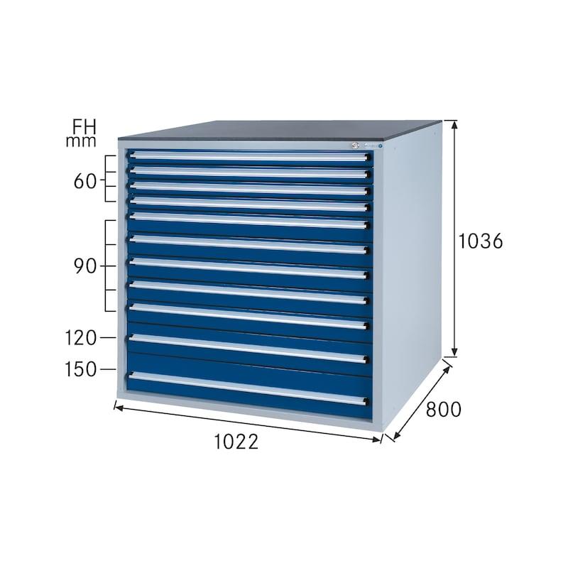 Schubladenschrank System 800 B mit 11 SOFT-CLOSE-Schubladen