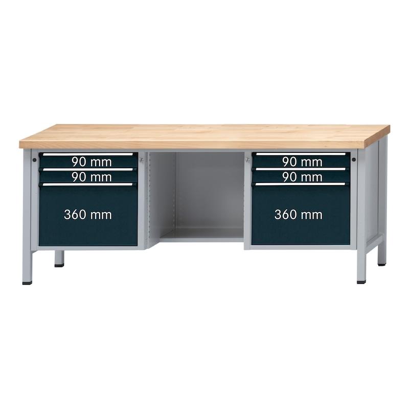 ANKE çlşma tzghı model 454V 2000x700x900mm ünvrsl kplmlı panel, RAL 7035/7016 - dolaplı çlşma tzghı, V 2000 serisi, diz boşluklu