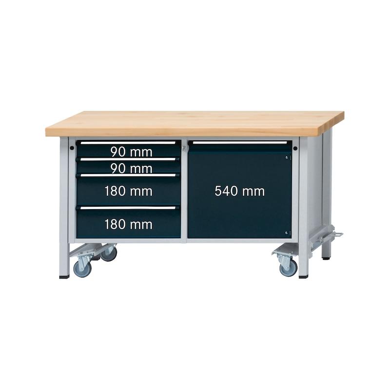 ANKE établi mod. 131 V abaiss., 1500x700x850 mm, rev. tôle zinc, RAL 7035/7016 - Etabli armoire série V 1500 avec roues de transport réglables en hauteur