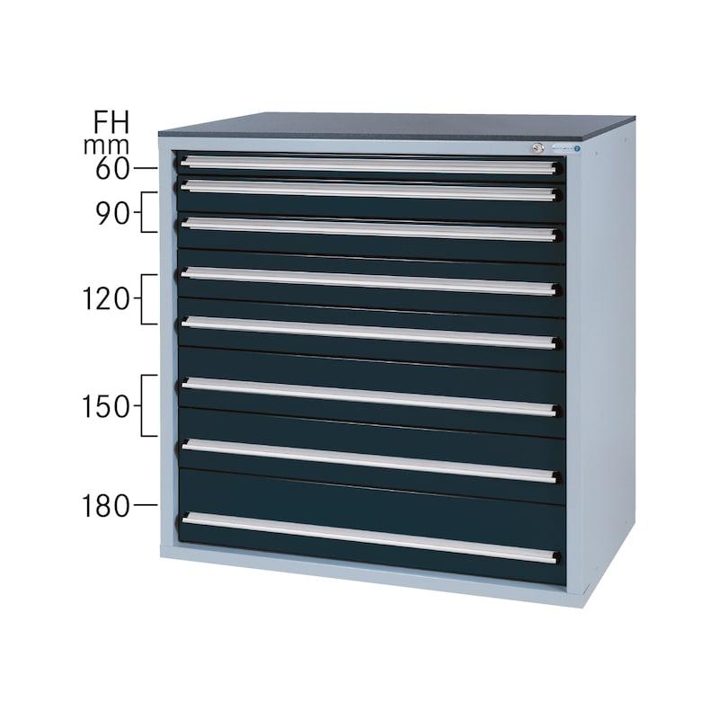 Système d'armoire à outils 550 B, modèle32/8 avec SCA, RAL7035/7016 - Système d'armoire à tiroirs 550 B avec 8 tiroirs SOFT-CLOSE
