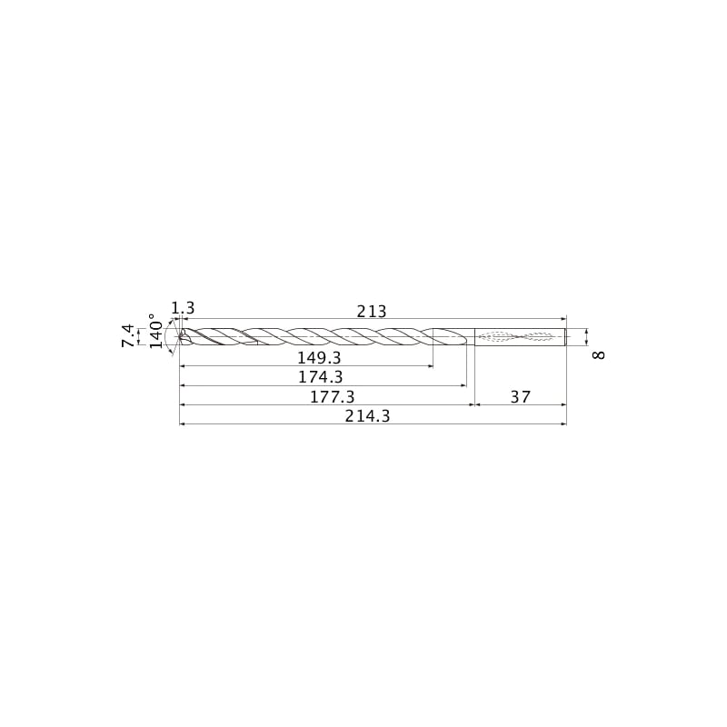 MNS0740-L20C TF15 MITSUBISHI, SUPER LONG Bohrer, unbeschichtet - MNS, Super Long Bohrer