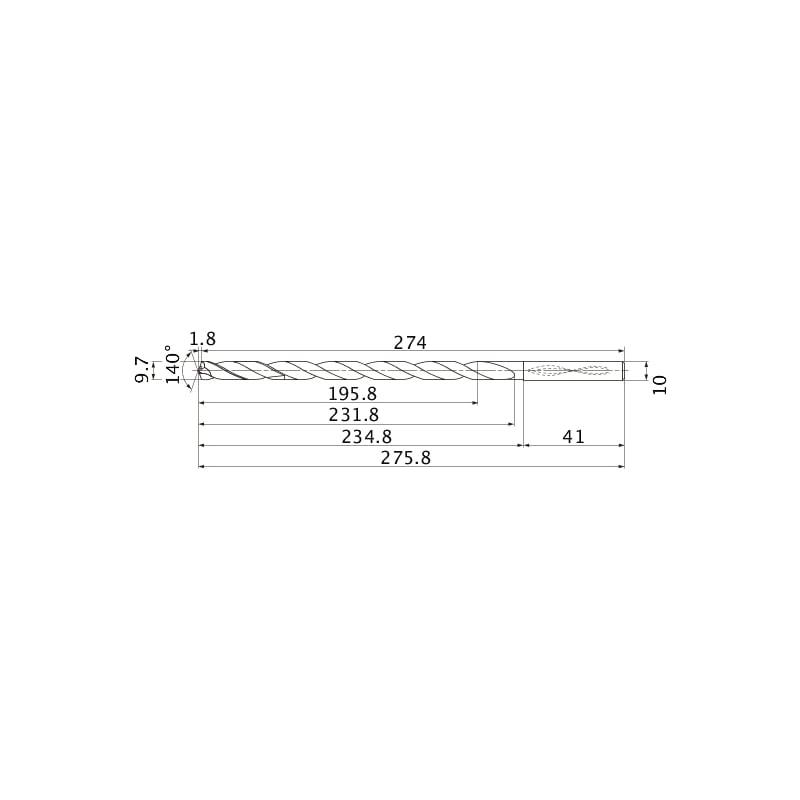 MNS0970-L20C TF15 MITSUBISHI, SUPER LONG Bohrer, unbeschichtet - MNS, Super Long Bohrer