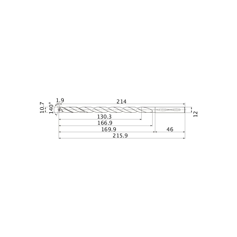 MNS1070-L12C TF15 MITSUBISHI, SUPER LONG Bohrer, unbeschichtet - MNS, Super Long Bohrer