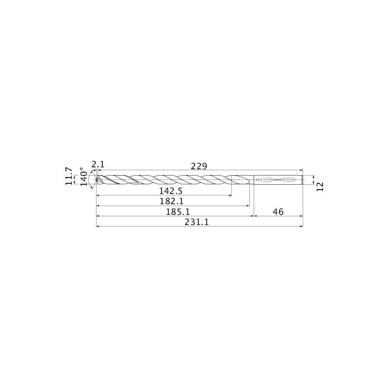 MNS1170-L12C TF15 MITSUBISHI, SUPER LONG Bohrer, unbeschichtet - MNS, Super Long Bohrer