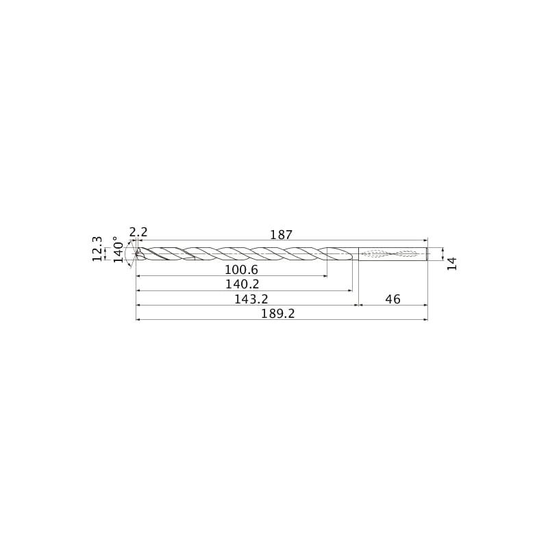 MNS1230-L8C TF15 MITSUBISHI, SUPER LONG Bohrer, unbeschichtet - MNS, Super Long Bohrer