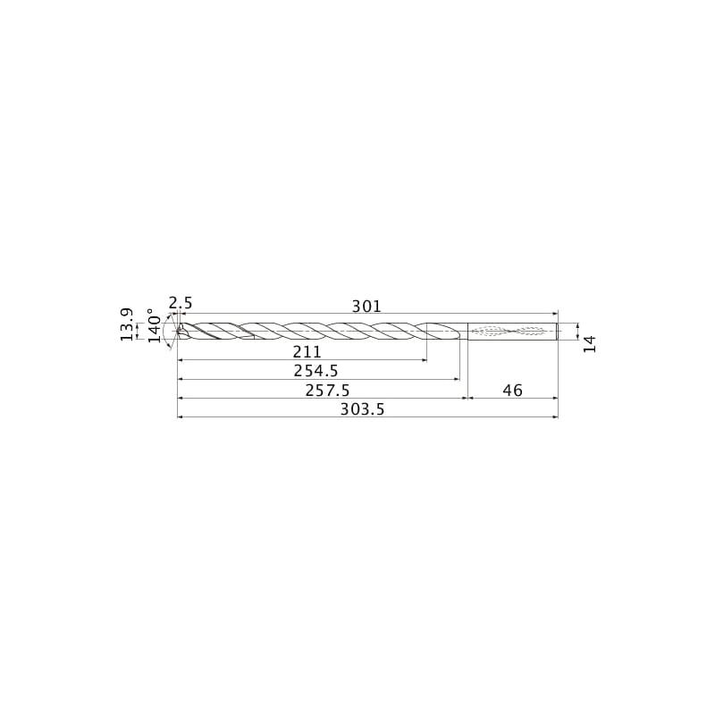 MNS1390-L15C TF15 MITSUBISHI, SUPER LONG Bohrer, unbeschichtet - MNS, Super Long Bohrer