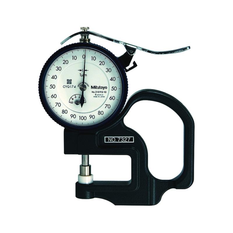 7327 MITUTOYO, Dickenmessgerät 0-1 mm mit Keramik-Tellermessflächen Messtiefe 30 mm - Analoge Messuhren