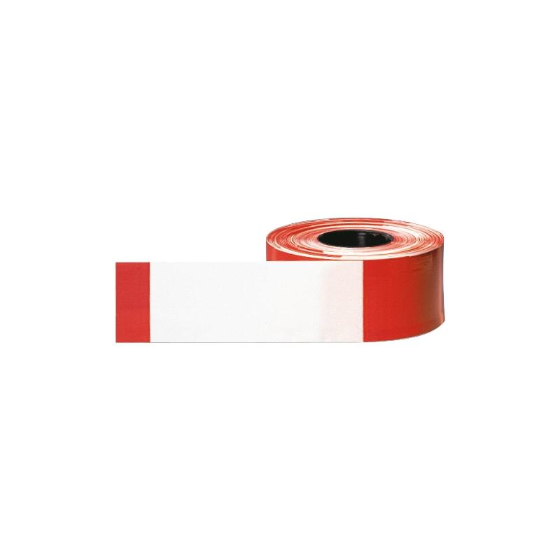 Morion rouleau ruban avert. polyéthylène rés. déch. : 500 m/80 mm, rouge/blanc - ruban d'avertissement